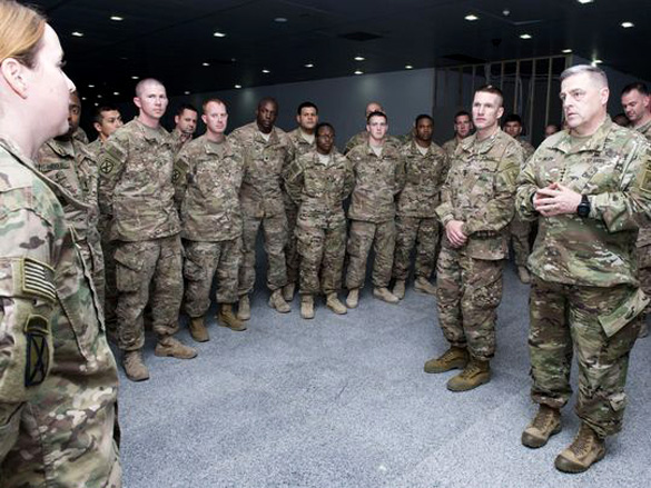 Army Chief of Staff Gen. Mark Milley is not breifing cadets about an alien threat. He is actually talking to soldiers serving in Erbil, Iraq, Dec. 18. Milley was on a five day tour of the U.S. Central Command area of responsibility. (Photo: Staff Sgt. Chuck Burden/Army)