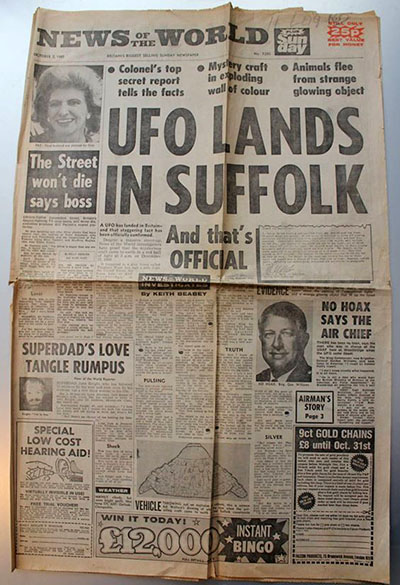 Newspaper breaking the story of the UFO sightings in the Rendlesham Forest.