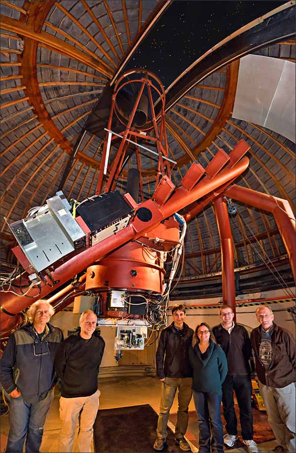 The NIROSETI team with their new infrared detector inside the dome at Lick Observatory. (Credit: Laurie Hatch/UCSD)