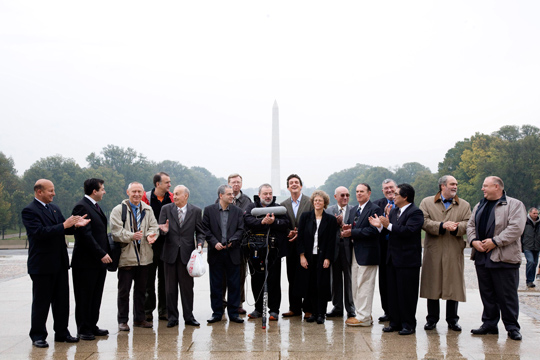 The Generals, Pilots, and other officials in Washington D.C., Leslie Kean is in the middle. (image credit: James Fox)