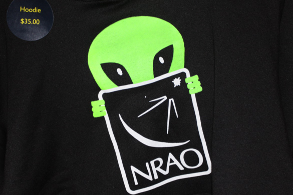 National Radio Astronomy Observatory (NRAO) alien hoodie on sale at the event. (Credit: Shepherd johnson)