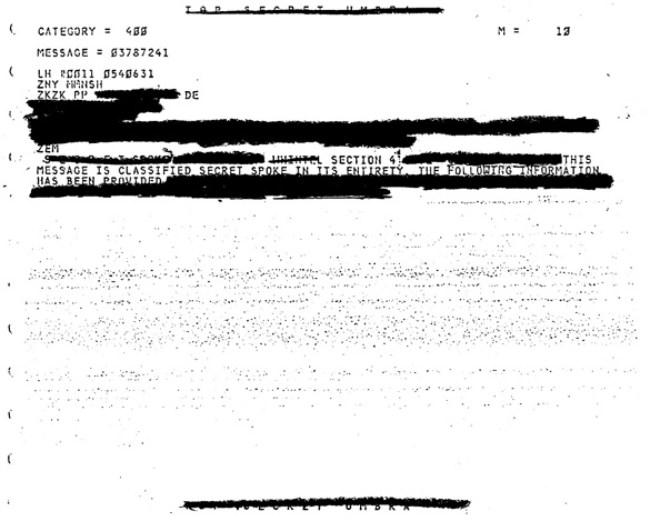 A heavily redacted COMINT UFO file. (Credit: NSA)