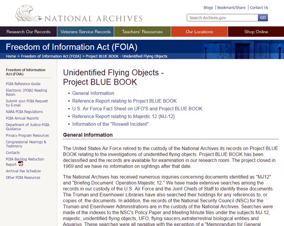 The National Archive's page on UFOs. (Credit: Archives.gov)