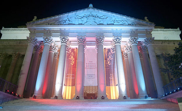 The United States National Archives Building in Washington D.C. (Credit: The United States National Archives)