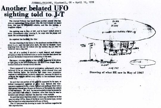 Newspaper article on the Oklahoma sighting.