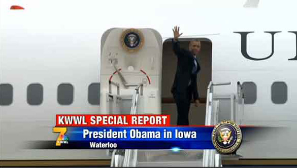 President Obama waves to the crowd at Waterloo Regional Airport as he boards Air Force One to head back to Washington, D.C., on Wednesday, Jan. 14, 2015. (Credit: KWWL.com)