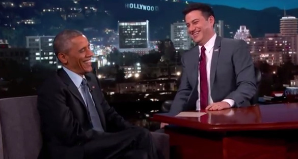 Jimmy Kimmel and President Obama laughing it up about UFOs and aliens. Video can be seen at the top of the story. (Credit: Jimmy Kimmel Live)