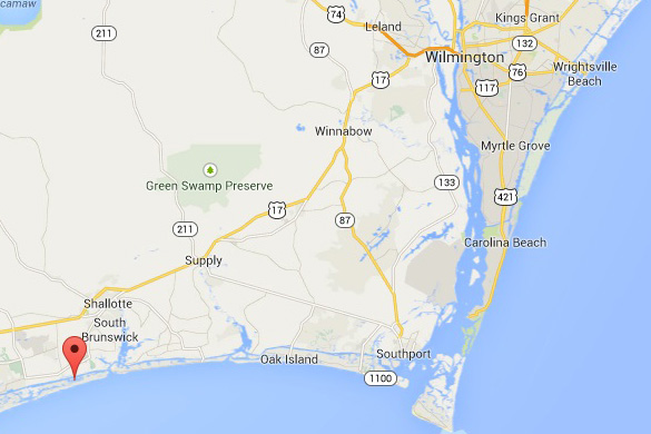 Map of Wilmington. Ocean Isle Beach is at the marker on the bottom left. Wrightsville Beach is in the upper right. (Credit: Google Maps)