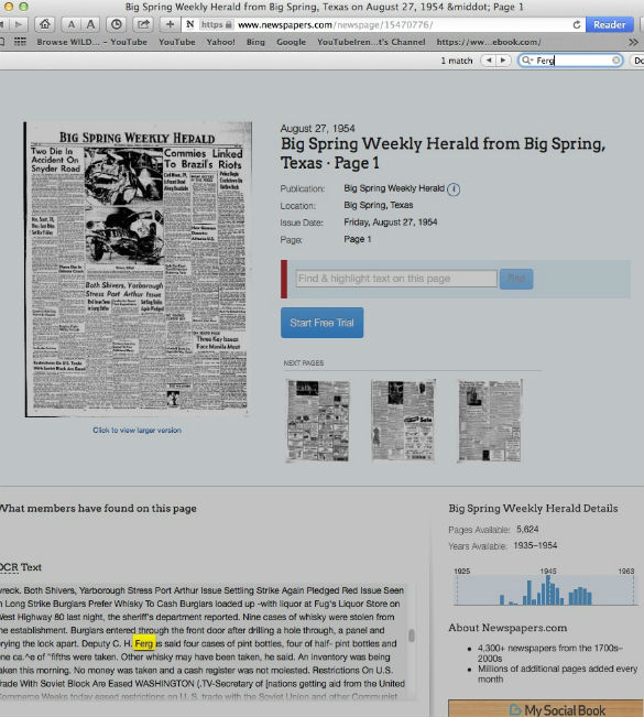 News cutting from 1954 mentions Charles Forgus.