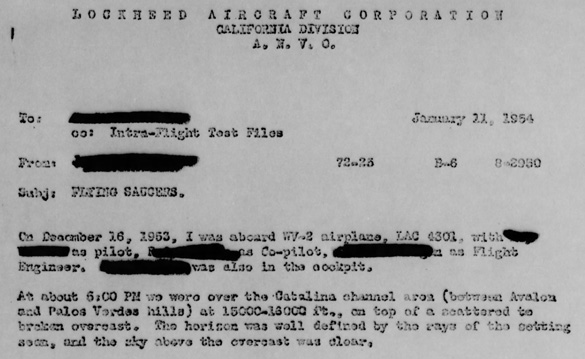 Excerpt from one of the Lockheed UFO reports. (Credit: U.S. Air Force Project Blue Book)