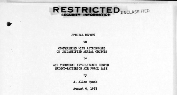 Front page of Hynek's astronomer report in the USAF Project Blue Book files. Click the image to view the entire report in pdf. (Credit: USAF)