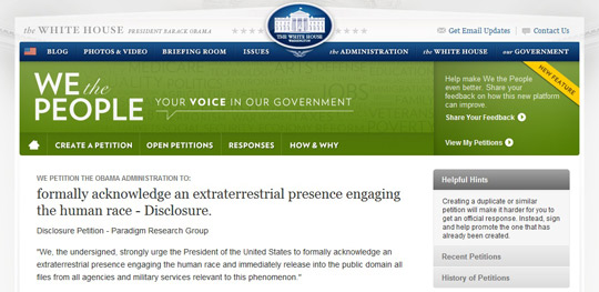 The PRG Extraterrestrial Disclosure Petition