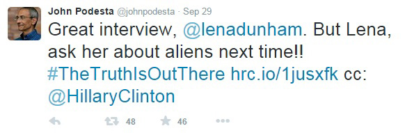 Podesta-Hillary-Dunham-Alien-Tweet