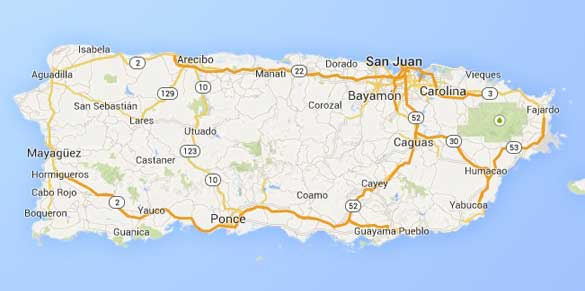 Fajardo can be seen on the eastern tip of Puerto Rico. (Credit: Google Maps)