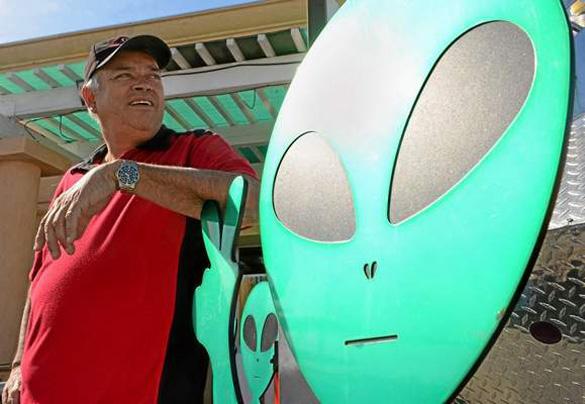 Luis Ramallo at Alien Fresh Jerky in Baker, CA. (Credit: Jennifer Cappuccio Maher/Inland Valley Daily Bulletin)