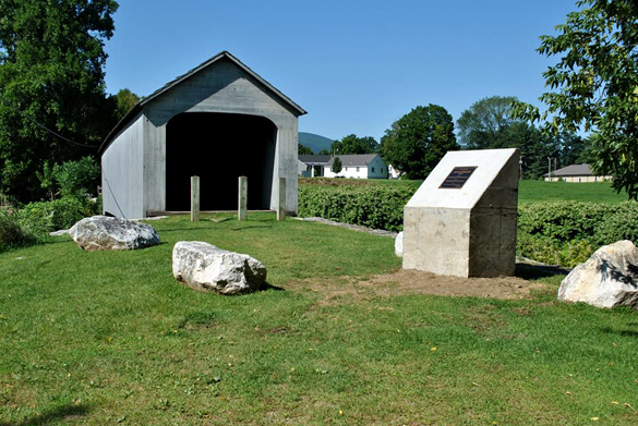 The UFO monument next to the Old Sheffield Covered Bridge in Sheffield, Massachusetts. (Credit: Tom Warner/Facebook)