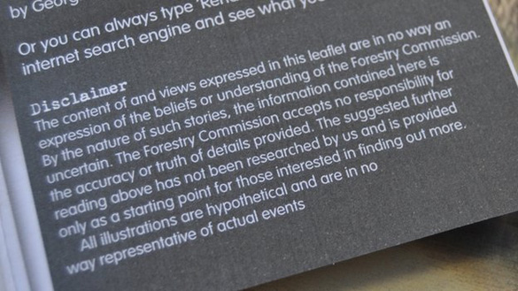The Forestry Commission's UFO Trail leaflet has a disclaimer about reported UFO sightings. (Credit: BBC)