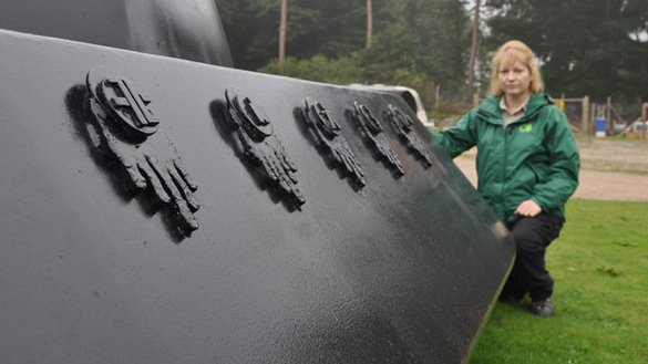 "Olivia English said the symbols on the model were ""no secret code - it's art."" (Credit: BBC)"