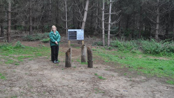 Olivia English standing at the end of the UFO Trail, site of the UFO landing. This is where her sculpture will be placed. (Credit: BBC)