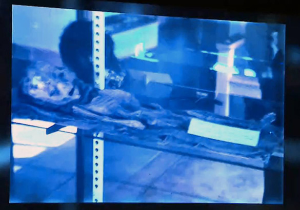 "Screenshot of the second ""Roswell Alien Slide."" (Credit: Slide Box Media/Jaime Maussan)"