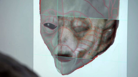 A scene from the documentary showing the alien face while it is being transformed into a computer rendering. (Credit: Slidebox Media)
