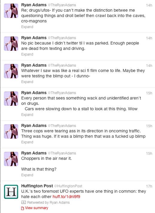 Ryans Adams twitter ufo feed