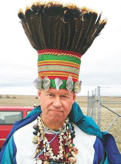 Sauder in his Headdress. (image credit: (image credit: Minot Daily News)
