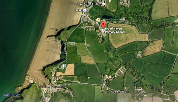 A map showing the location of Broad Haven Primary in relation to Haven Fort Hotel (The  small marker on the bottom right. (Credit: Google Maps)