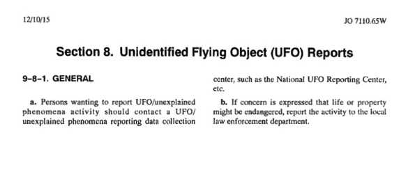 AIM Section 8 on UFO Reporting. (Credit: FAA)