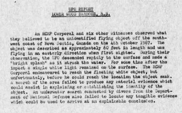 Canadian UFO report linked to in the Shag Harbour UFO Incident summary. (Credit: Canada Library and Archives)