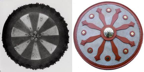 """A couple of shields from antiquity whose designs look similar to those in the """"UFO"""" art."""