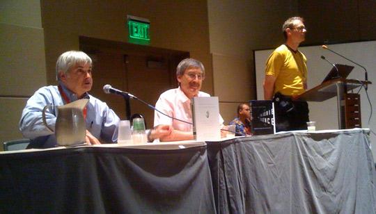 From left: Seth Shostak, Paul Davies, David Williams