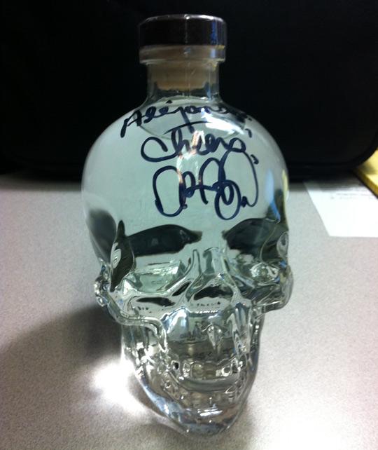 Crystal Skull Vodka signed by Aykroyd
