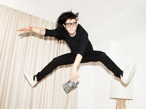 Promotional image provided by Google of Skrillex jumping with one of the phone cases. There are lots of pictures online of Skrillex jumping. Must be something he likes to do a lot. (Credit: Google)
