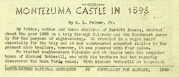 Excerpt from am article written in 1896 by S. L. Palmer describing the discovery of the mummified boy. (Credit: Southwest Monuments)