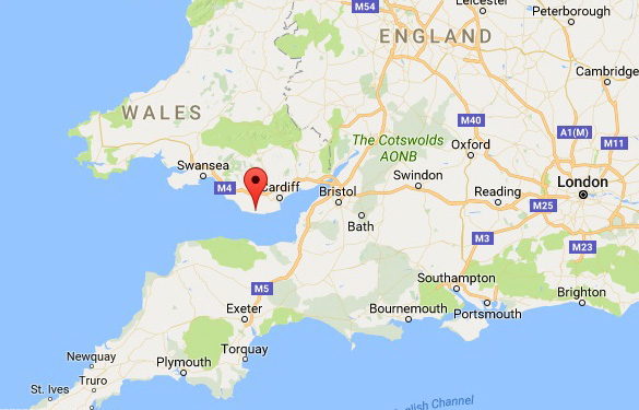 Map showing the location of St. Athan in Wales. (Credit: Google Maps)