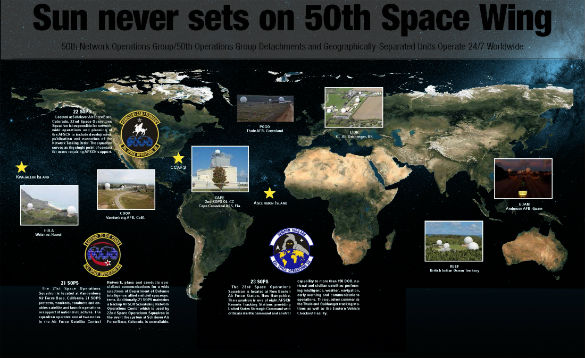 The USAF already has a Space Command and Space Wing. This graphic details the 50th Space Wing's locations. Click to enlarge. (Credit: USAF)