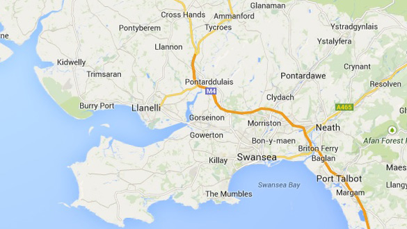 A map showing Swansea, South Wales, and the surrounding area. (Credit: Google Maps)