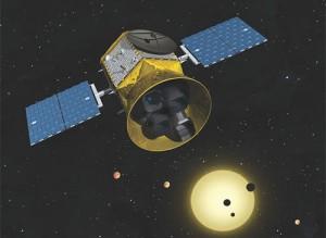 Artist's rendering of TESS in orbit. (Credit: Chet Beals/MIT Lincoln Lab)