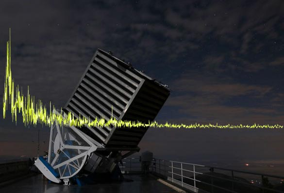 The Telescope of the Sloan Digital Sky Survey with one of the 234 detected Signals. (Credit: SDSS.org / Borra u. Trottier, 2016)