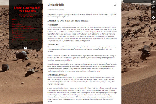 The Time Capsule to Mars mission website. (Credit: Time Capsule to Mars)