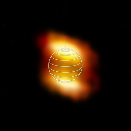 ALMA image of the distribution of molecules in Titan's atmosphere. (Credit: Credit: NRAO/AUI/NSF; M. Cordiner (NASA) et al.)