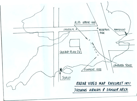 Map: Map of the area showing the track on the unidentified radar target. Map supplied by Alan Turner.