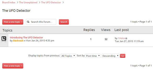 The UFO Detector Forum at TheBlackVault.com. (Credit: The Black Vault)