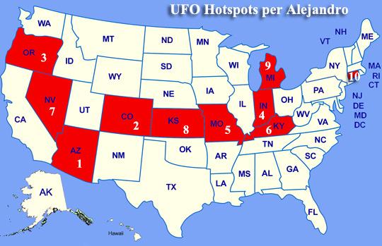Top 10 UFO hotspots per Alejandro