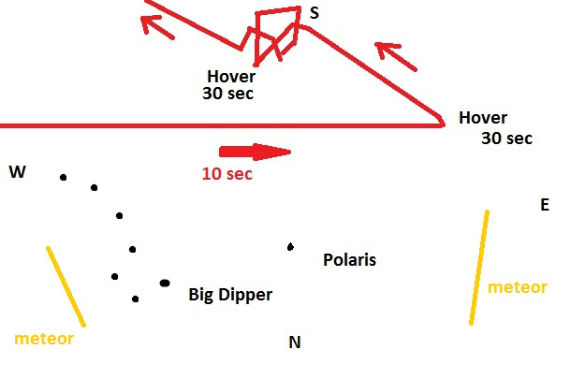 Witness drawing of erratic movement of UFO. (Credit: MUFON)