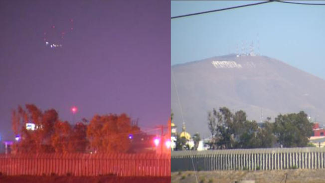 The scene from the day, versus what was captured at night. The witnesses says fog made the lights look more mysterious than they actually turned out to be. (Credit: NBC 7 San Diego)