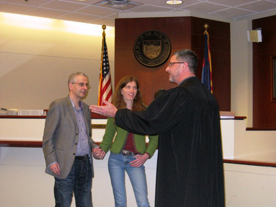 Nick and Elizabeth at the Court House. (image credit: Gisela and David Weiss)