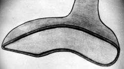 The shape of the creatures footwear estimated by the footprints (image credit: ICUFON archives)