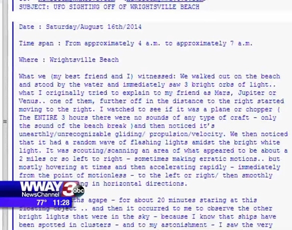An excerpt of the email sent to WWAY about the UFO sighting at Wrightsville Beach. (Credit: WWAY)